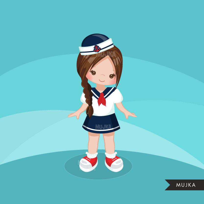 Sailor Clipart, Girl in blue