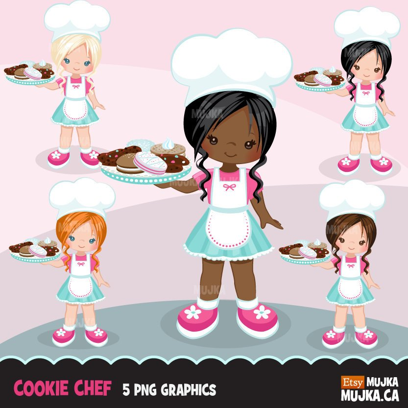 Cookie Pastry Chef Girl Clipart