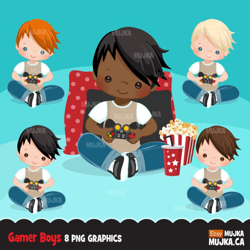 Game night clipart, gamer boy, video game, birthday party graphics