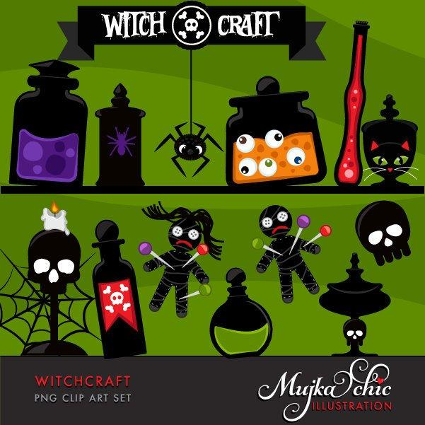 Halloween Witchcraft Clipart with elixir potion jars