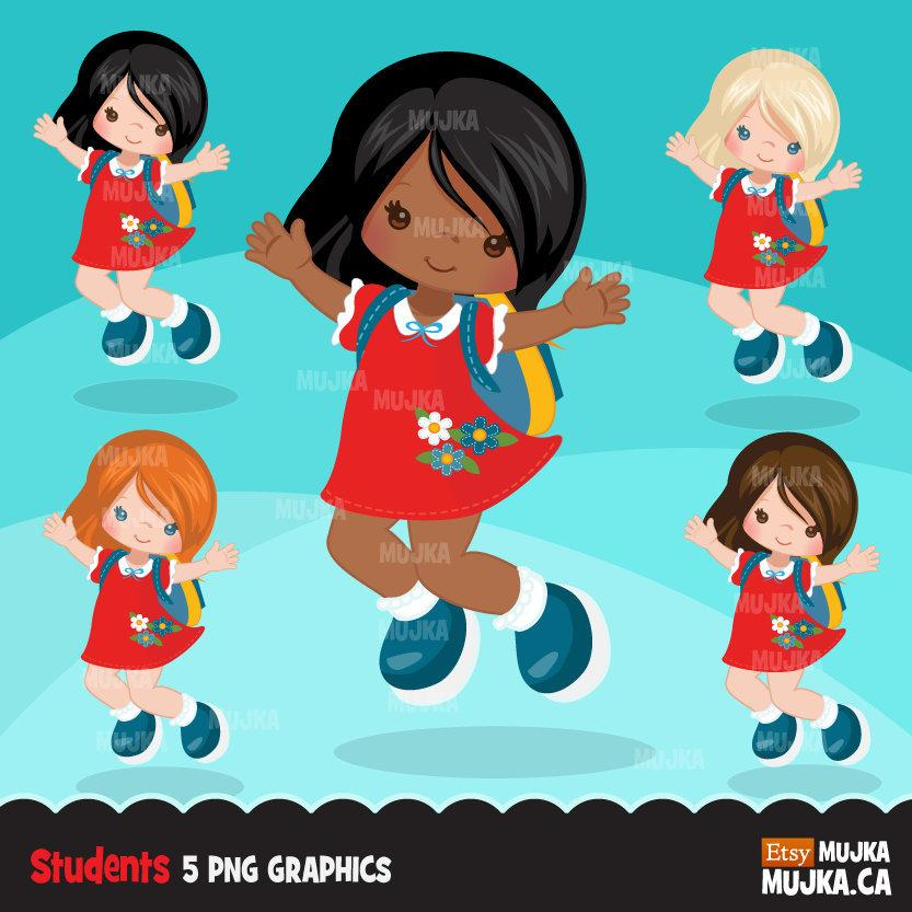 Cute Student Girl clipart. School Graphics