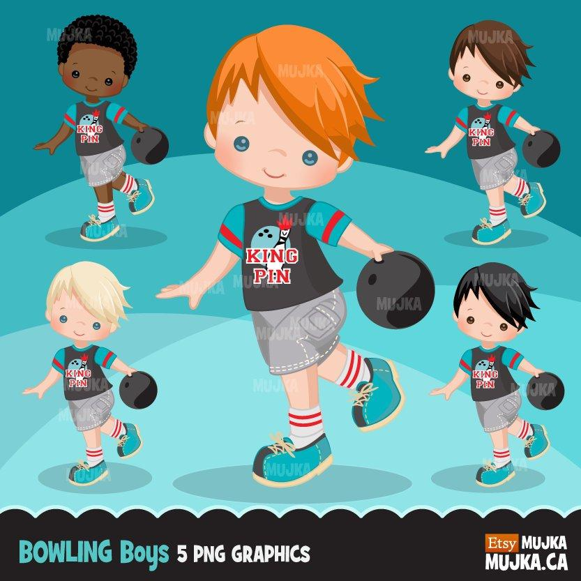 Bowling Clipart, boy graphics