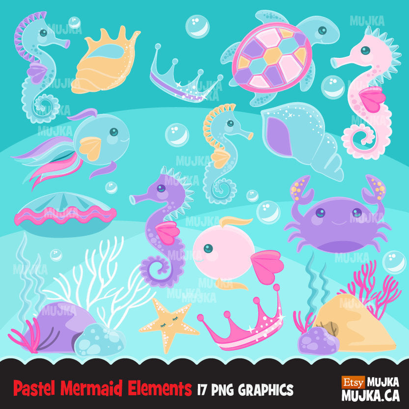 Mermaid undersea clipart, sea animals