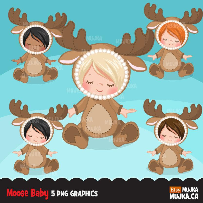 Moose Baby clipart, baby animal costume, fall