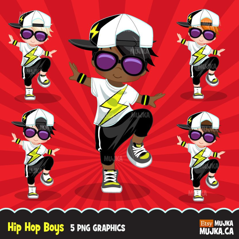 Hip hop dancer boys clipart