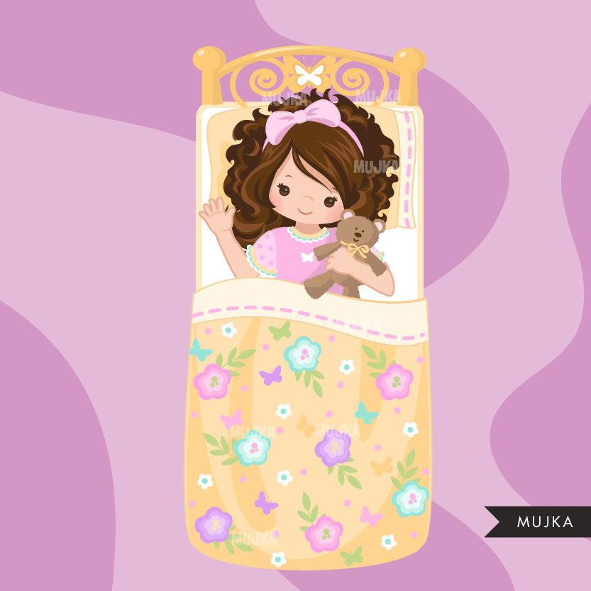 Slumber party clipart, girl night, set 2