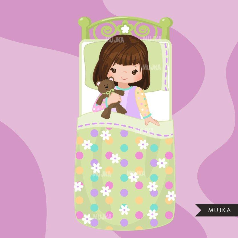 Slumber party clipart, girl night, set 3