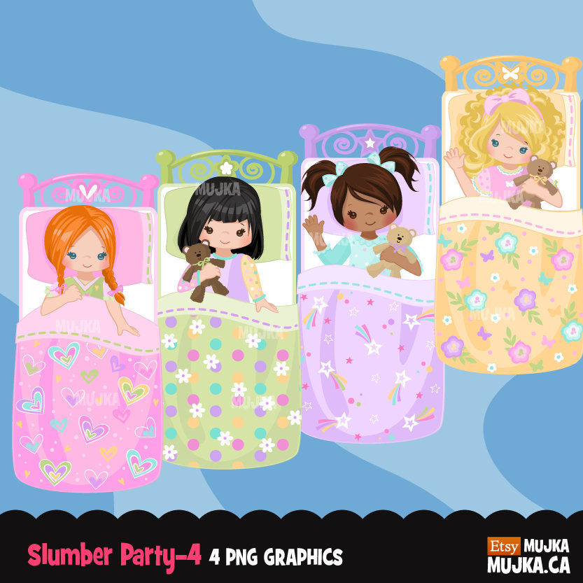 Slumber party clipart, girl night, set 4