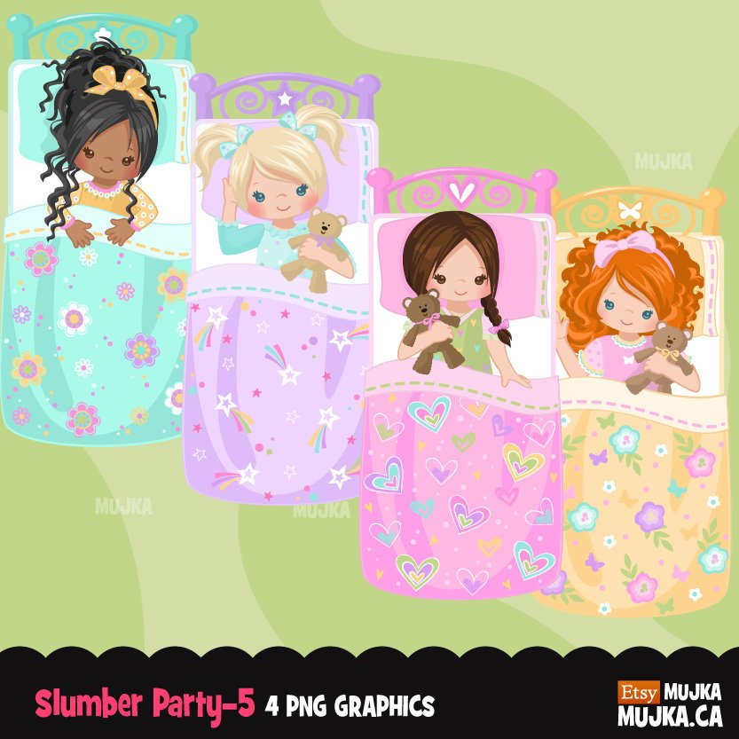 Slumber party clipart, girl night, set 5