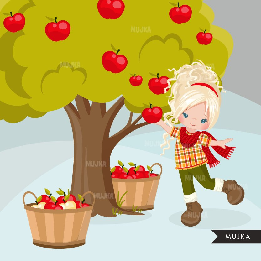 Fall Apple Pickers clipart, cute curly haired girl
