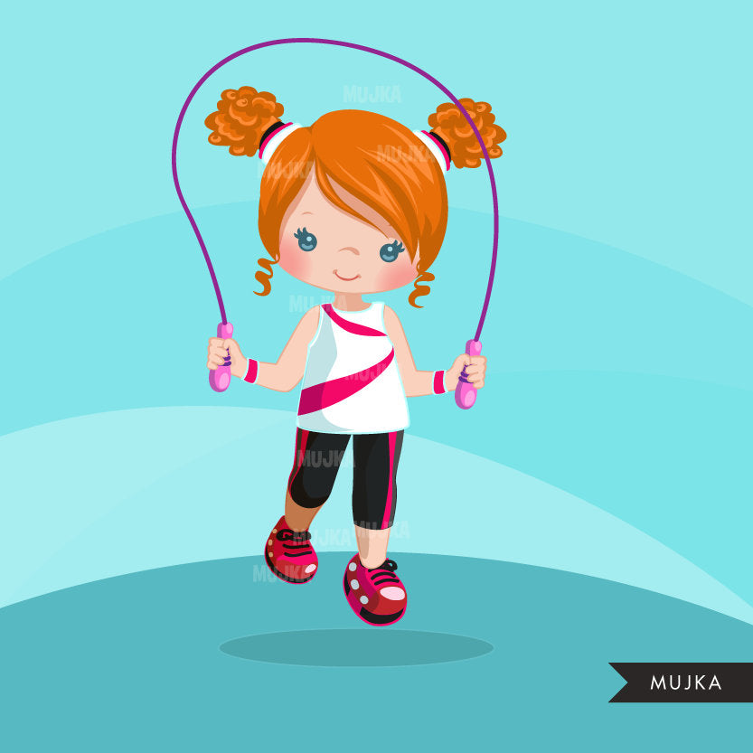 Workout Gym clipart, Girl skipping