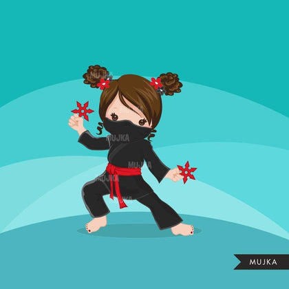 Free Ninja Clipart. Girl Ninja birthday, afro