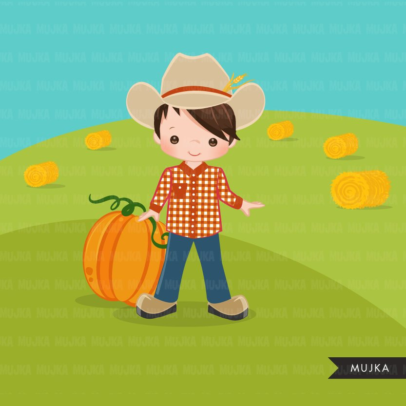 Farmer Clipart, Boy in fall tractor