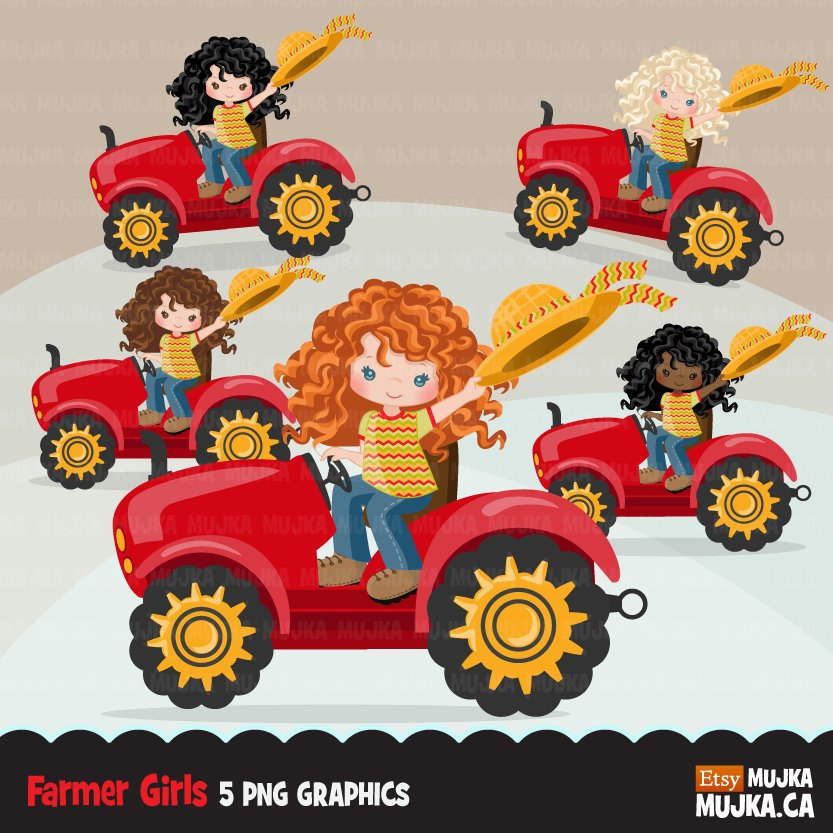 Farmer Clipart, Girl on a tractor, fall