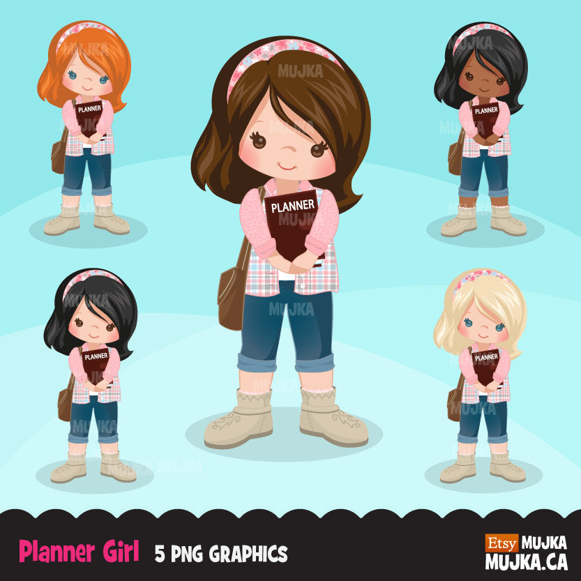 Planner girl clipart, chic characters