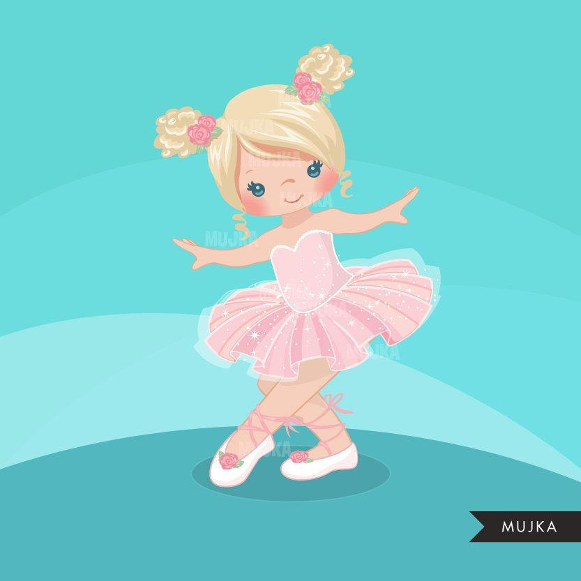 Ballerina clipart. Pink pigtail girl graphics.