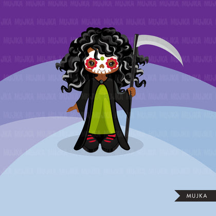 Halloween clipart. Day of dead graphics, girls