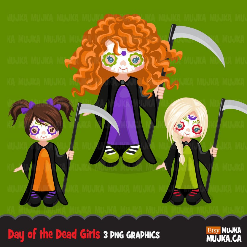 Halloween clipart. Day of the dead characters, girls