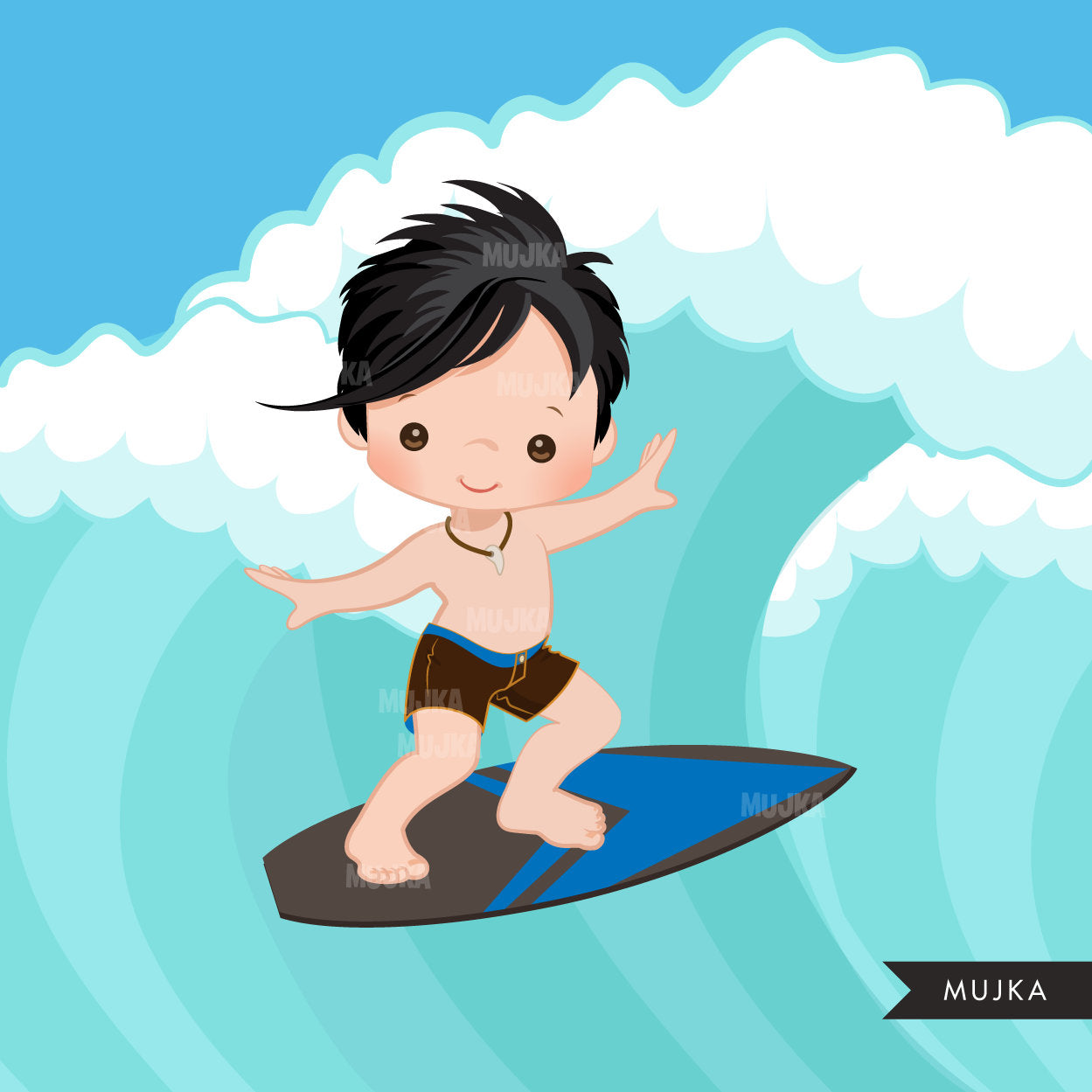 Surfer Boys clipart summer