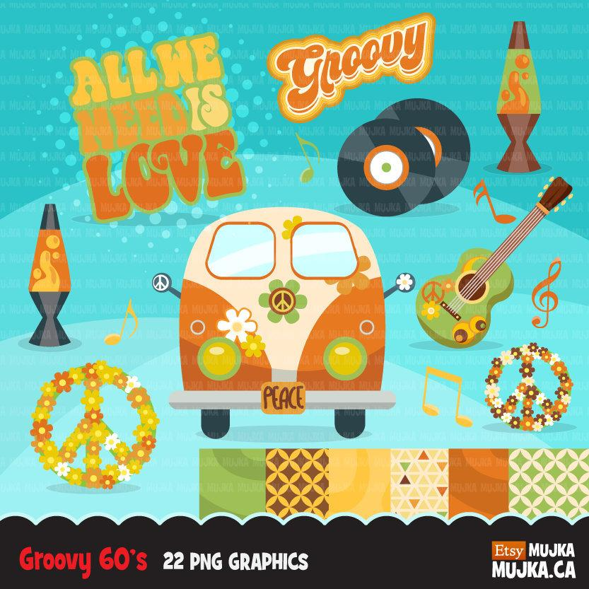 60's retro groovy clipart. Vintage Pop graphics