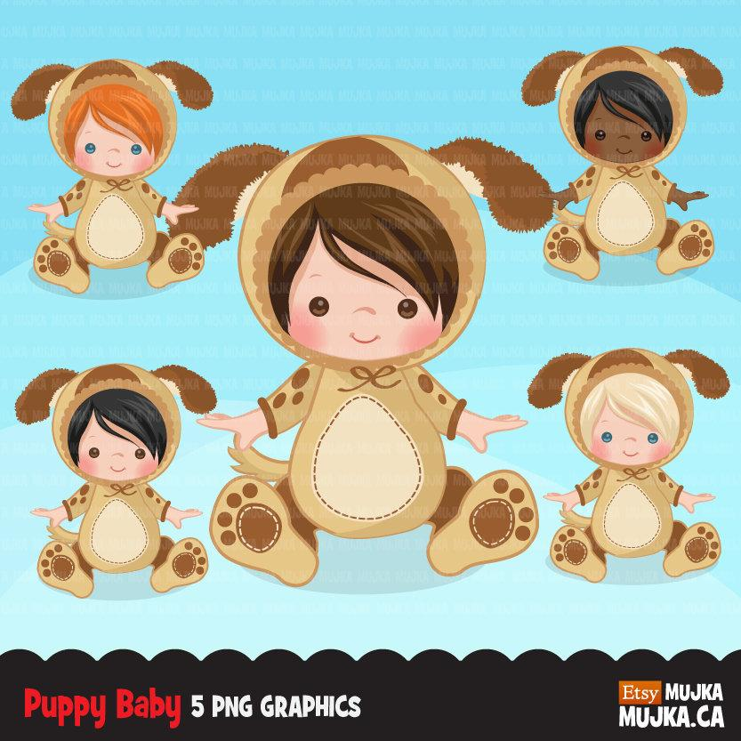 Baby puppy dog clipart, halloween animal costume