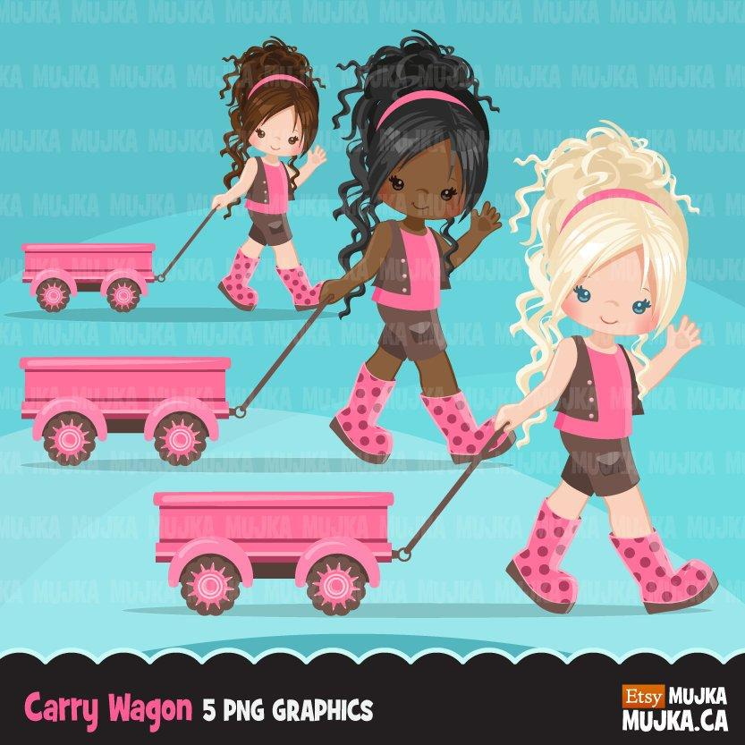 Little girl clipart, cute characters pulling a wagon