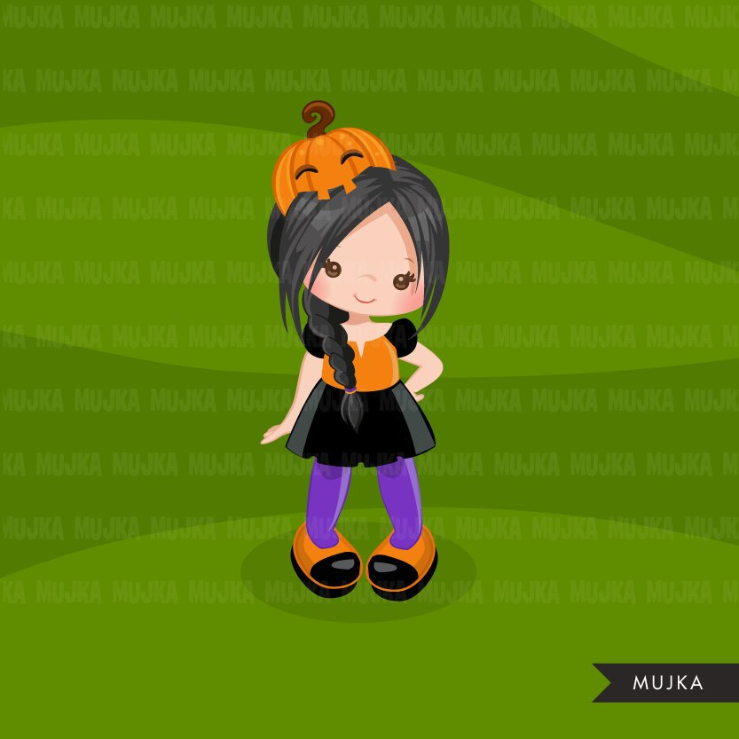 Halloween Trick or treat clipart, cute girl in costume
