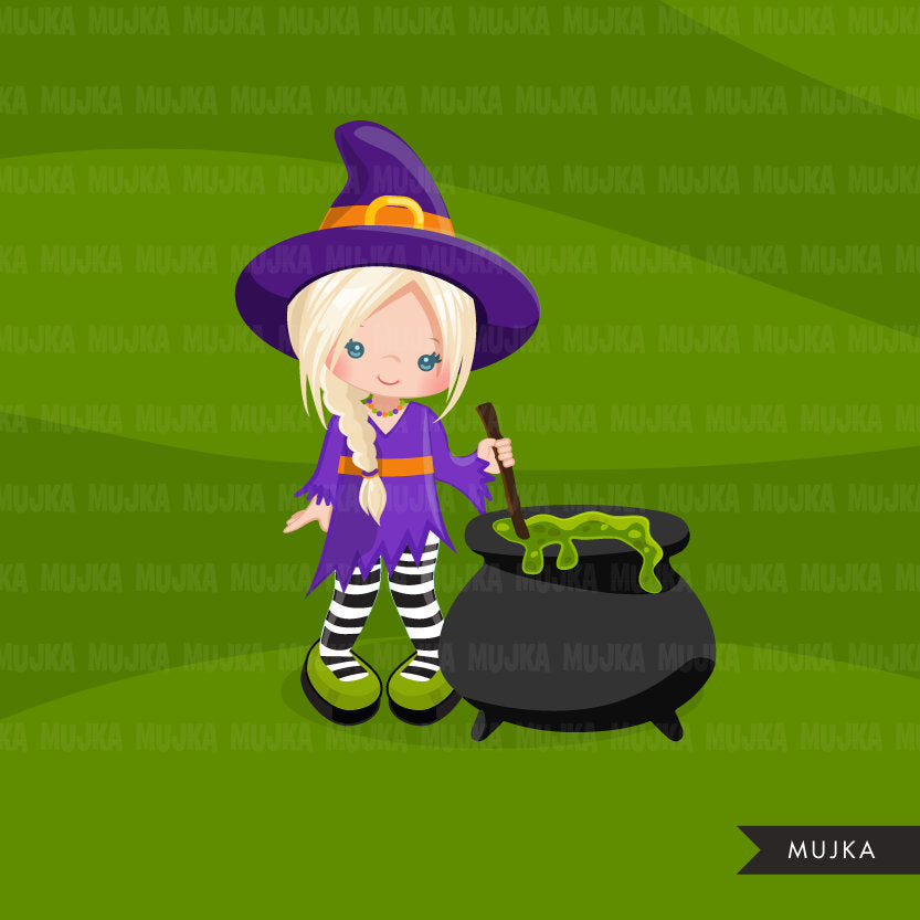 Halloween witch clipart, girls