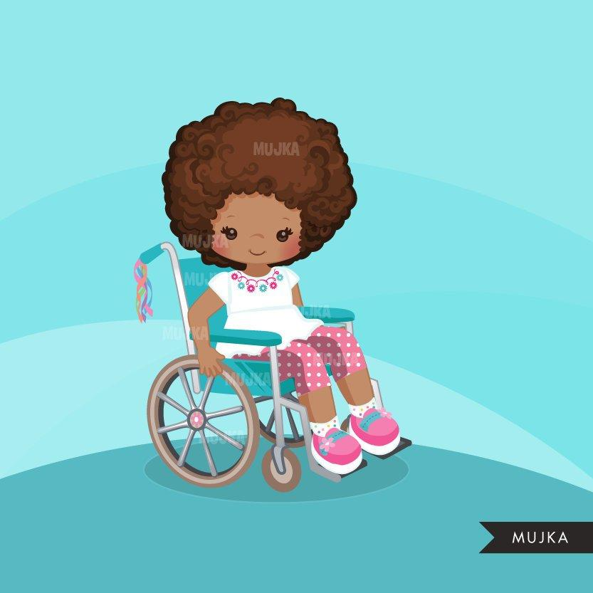Special Needs Wheelchair clipart, black girl with disability version 2