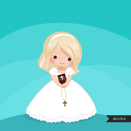 First Communion Clipart for Girls. Communion characters religious