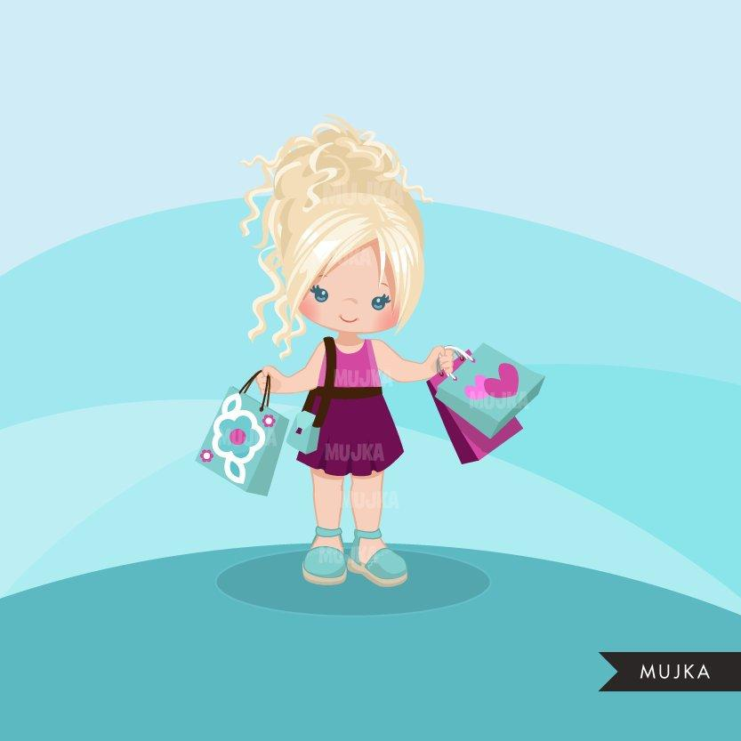 Shopping Girls clipart, chic girl with hair updo