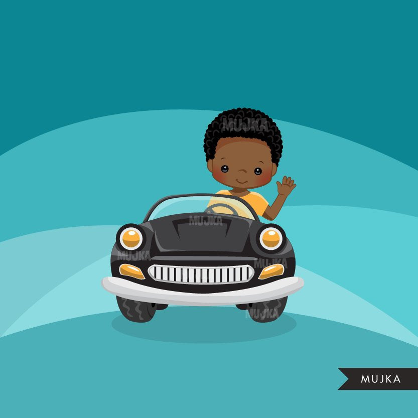 Boy Car driver clipart