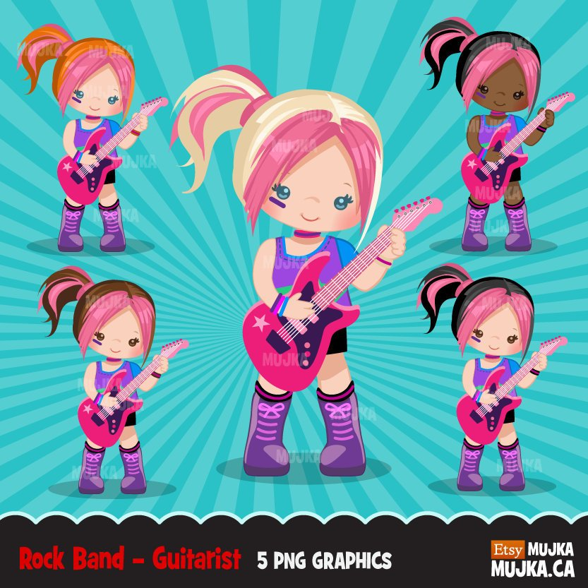 Rockstar Girls Clipart, guitarist girl