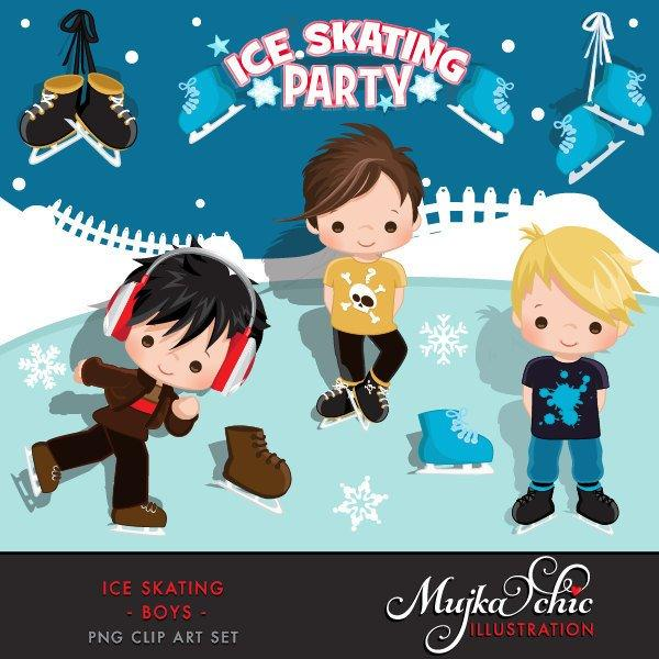 Ice Skating Clipart Sports Boy Birthday party. Winter graphics