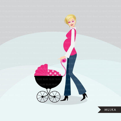 Baby Shower Clipart. Cute posh mom to be characters with pink polka dot stroller.