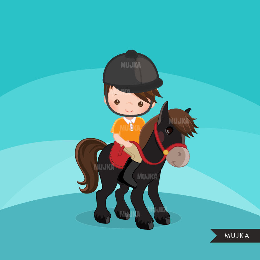 Horseback riding clipart, Boy riding animal
