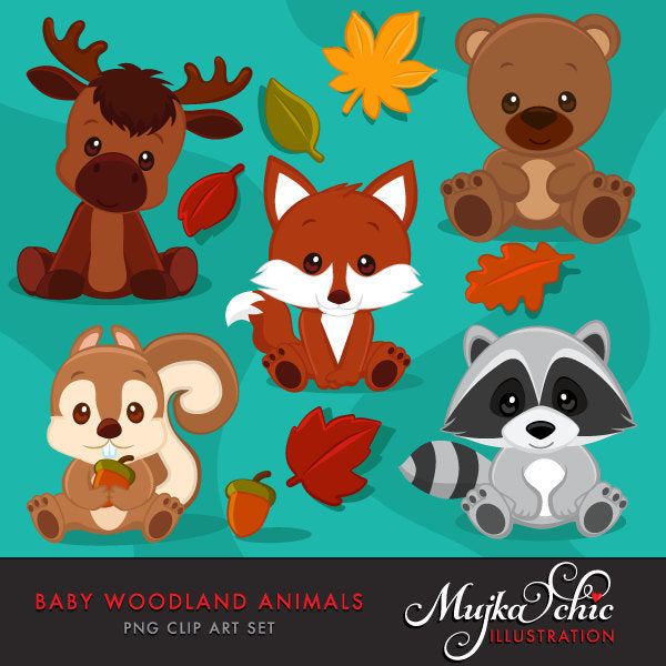 Baby Woodland Animals clipart, fall