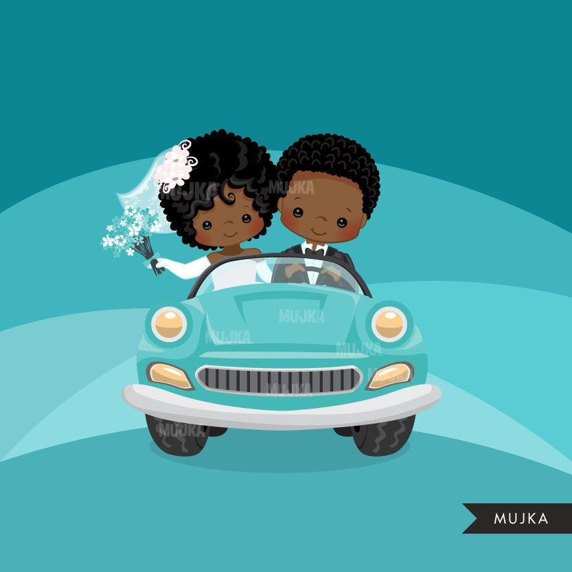 Just married black bride and groom clipart, girl and boy married