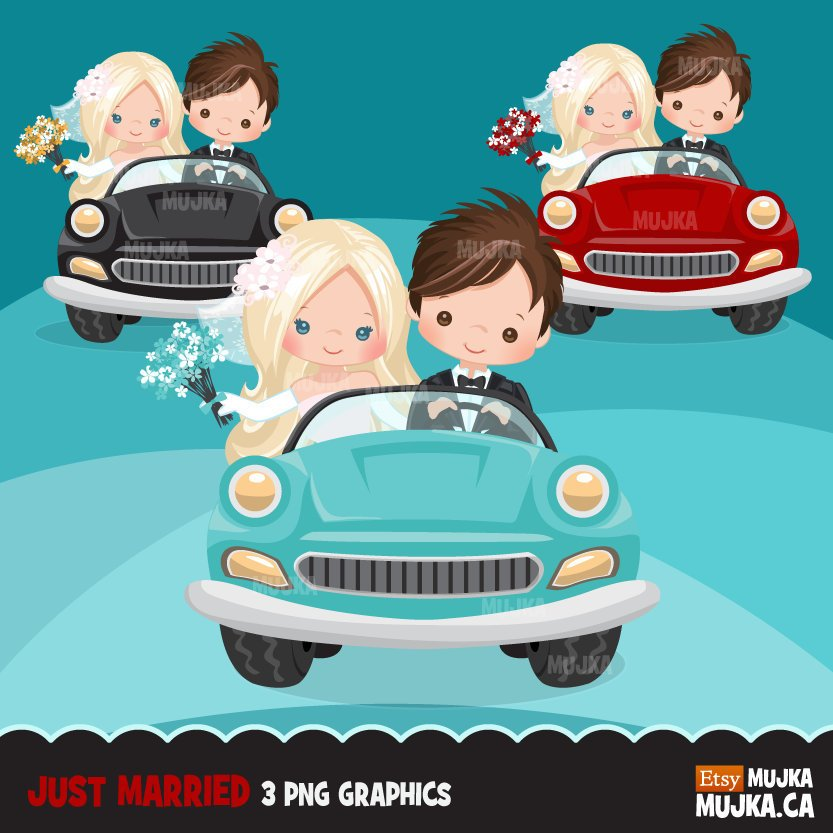 Just married bride and groom clipart, blonde girl and brunette boy