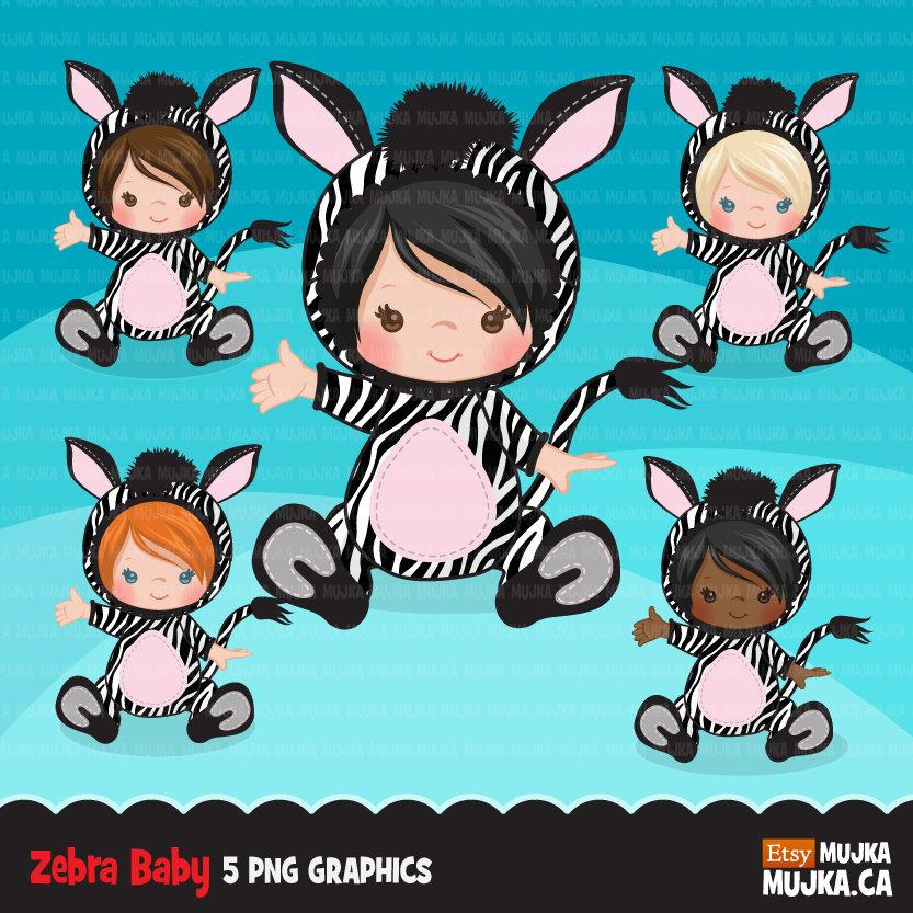 Baby zebra clipart, halloween animal costume