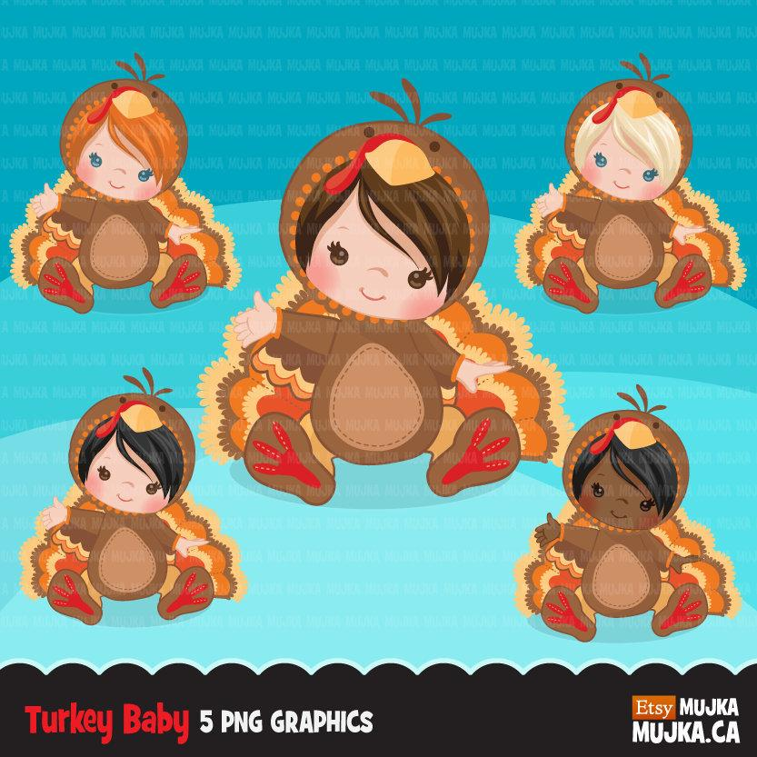 Baby turkey animal clipart, Thanksgiving graphics fall harvest