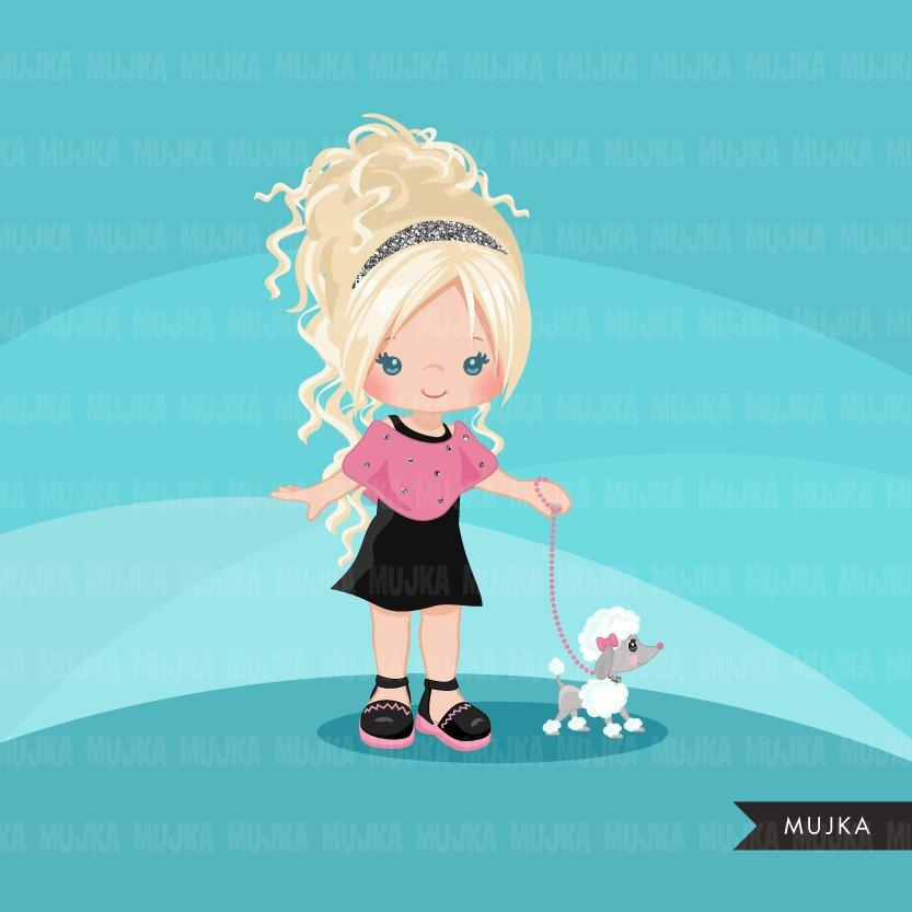 Paris clipart, girl with puppy animal