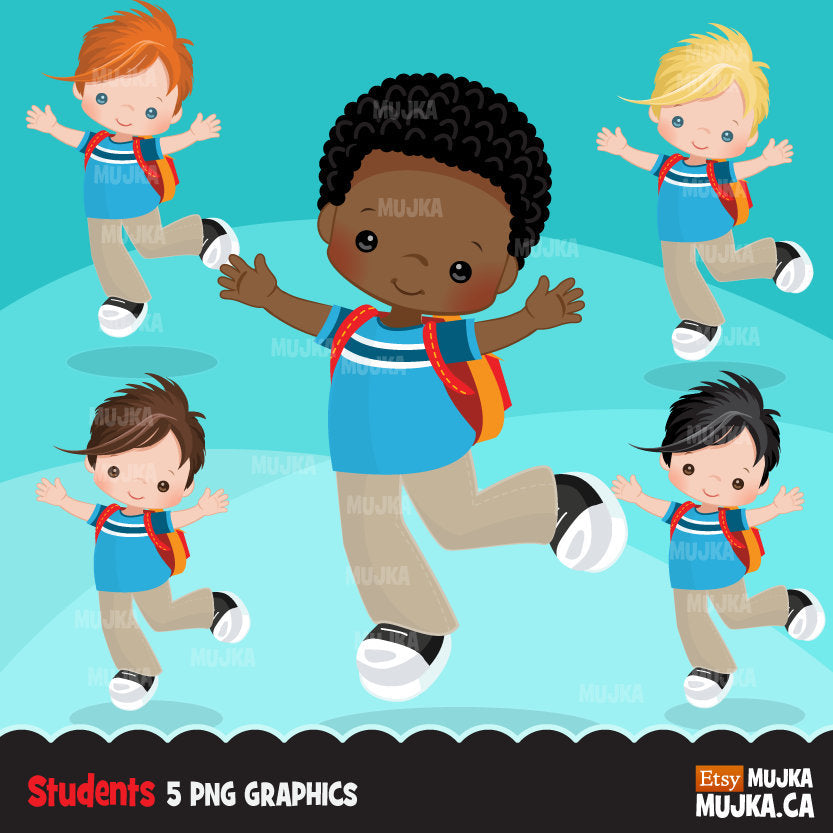Back to School Boy Student clipart