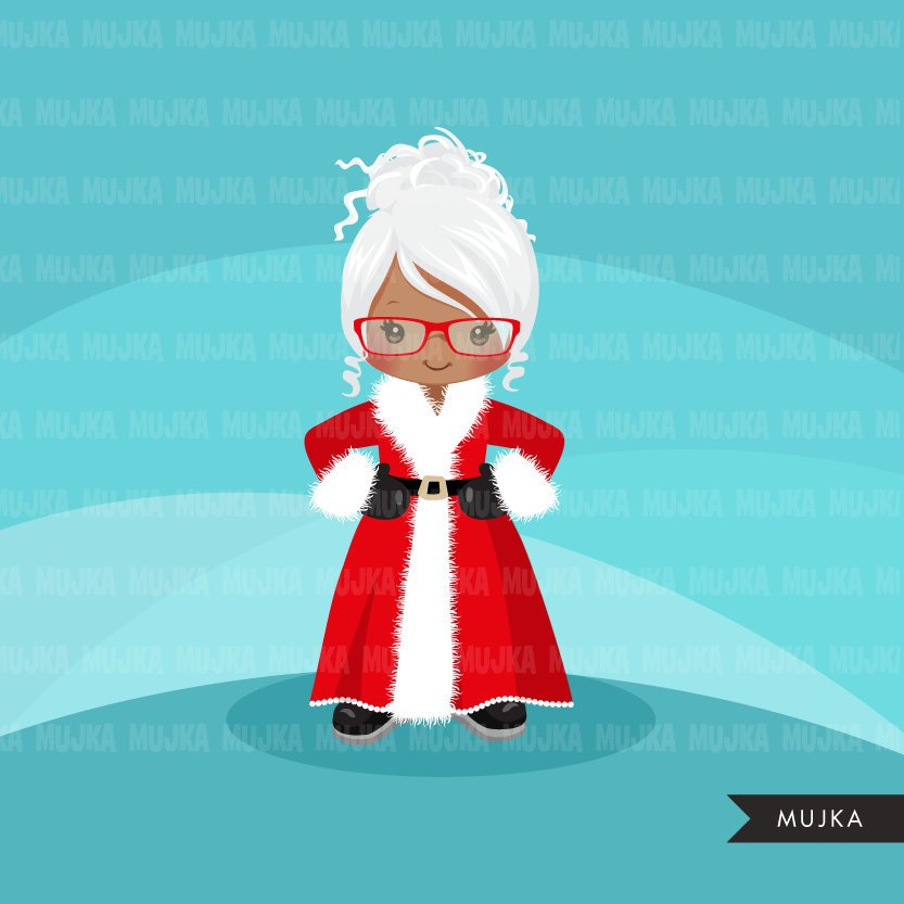 Mrs Santa Clipart, girl version of santa, merry christmas