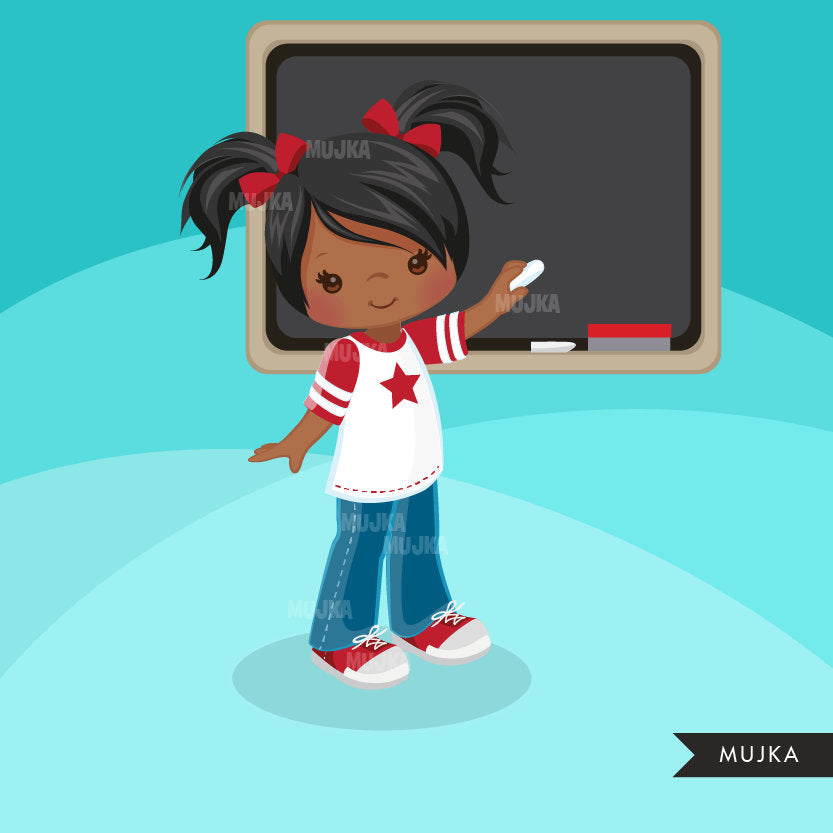 Student Girl clipart, school graphics