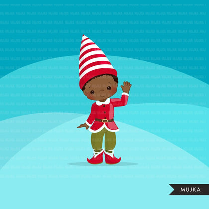 Christmas Elf Clipart, black Boy