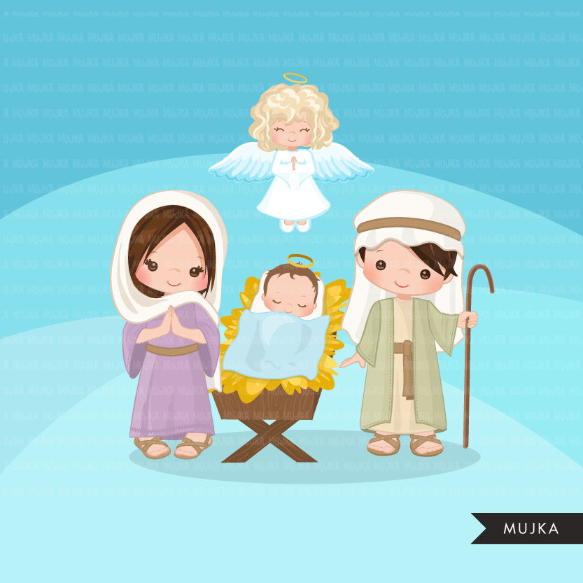 Nativity Clipart, boy and girl, religious