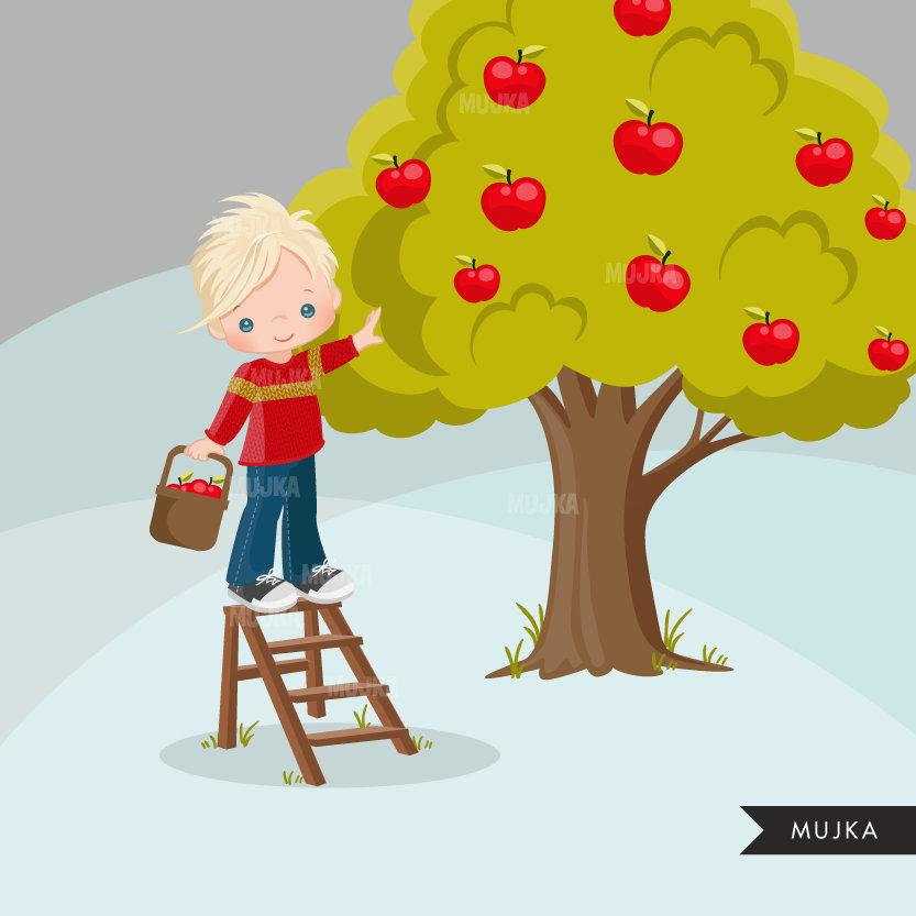 Fall Apple Pickers clipart, cute boy graphics