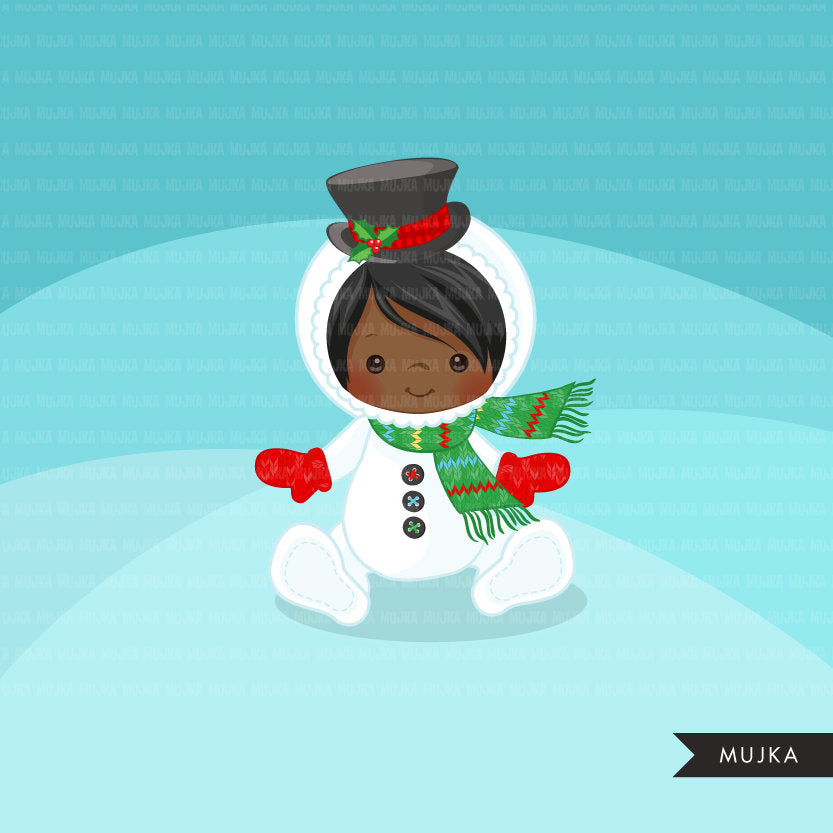 Baby Snowman clipart, Christmas costume