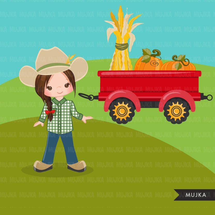 Farmer Clipart, Girl with tractor, Fall